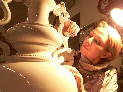Grande vaso in ceramica bianca