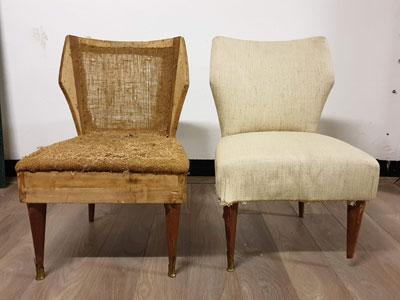 Riparazione di due sedie d'epoca