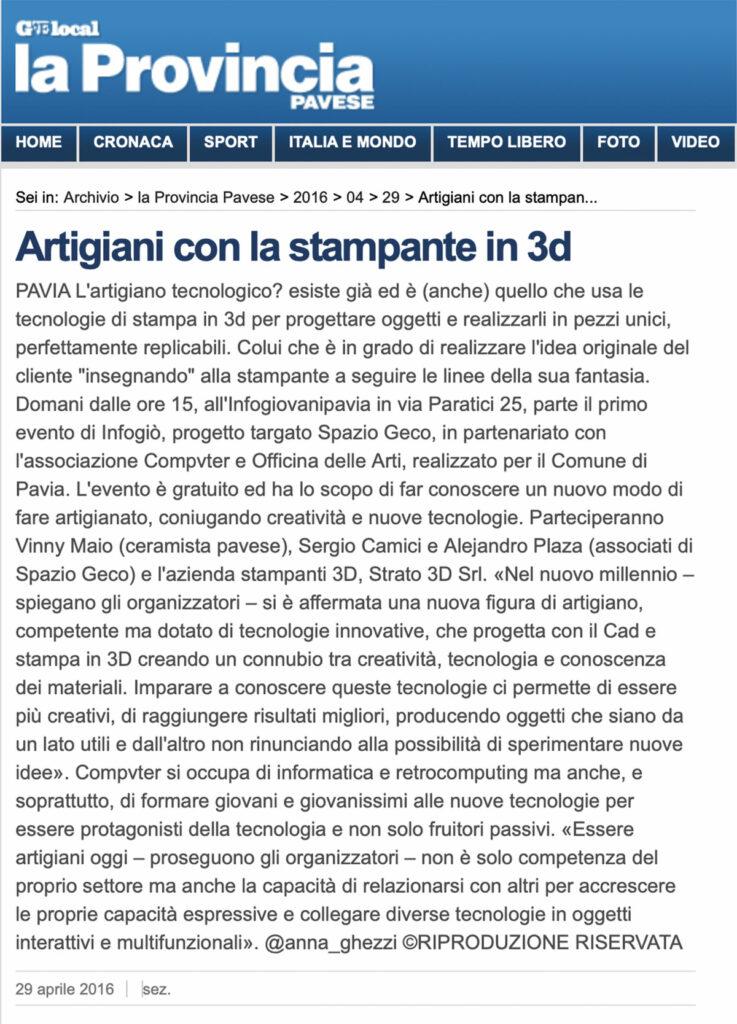 Articolo su Geo Local La Provincia Pavese