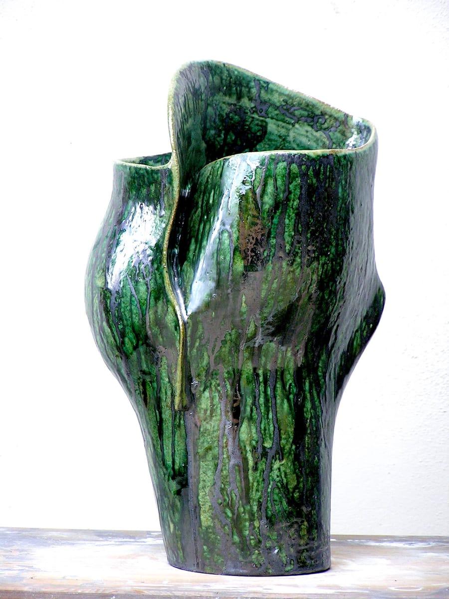 Piccolo vaso dal colore verde in ceramica