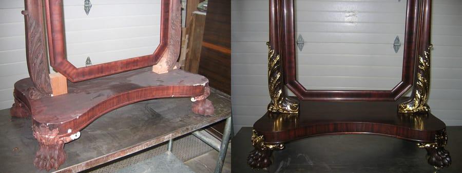 Restauro specchio in legno con dettagli in oro