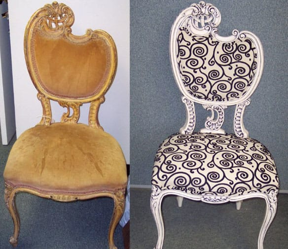 Ri-design sedia a fantasia in bianco e nero
