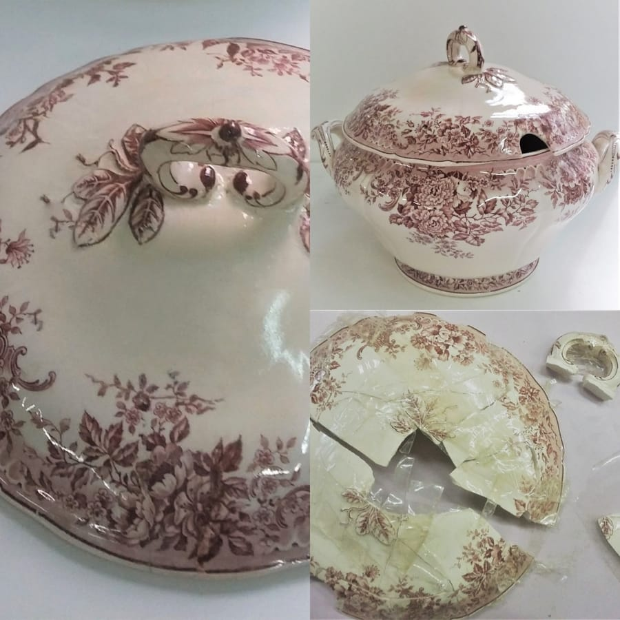 Riparazione di un oggetto in porcellana dalla restauratrice Vinny Maio